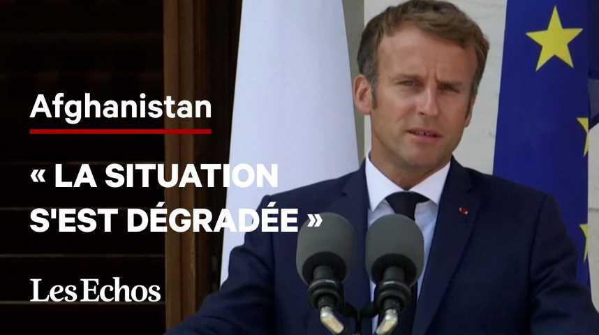 Illustration pour la vidéo Afghanistan : « La situation s'est profondément dégradée », déclare Emmanuel Macron