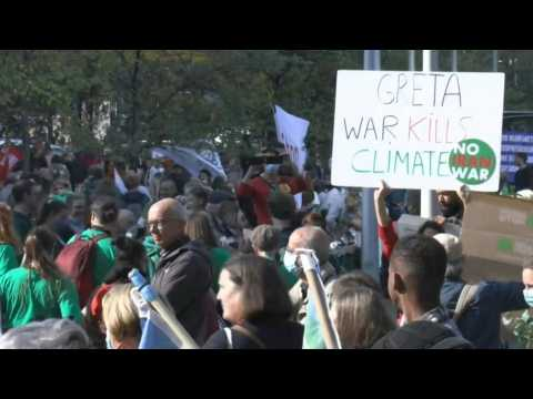 Thousands of climate protesters gather in Brussels ahead of COP26