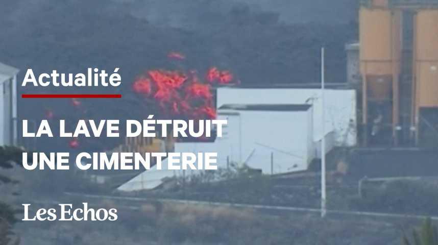 Illustration pour la vidéo Volcan aux Canaries : confinements après la destruction d'une cimenterie par la lave