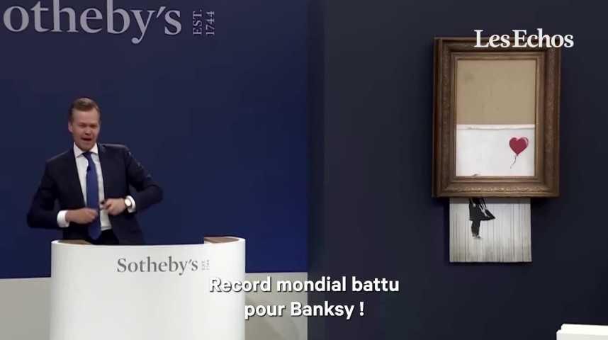Illustration pour la vidéo «La Fille au Ballon» autodétruite de Banksy vendue 20millions d'euros