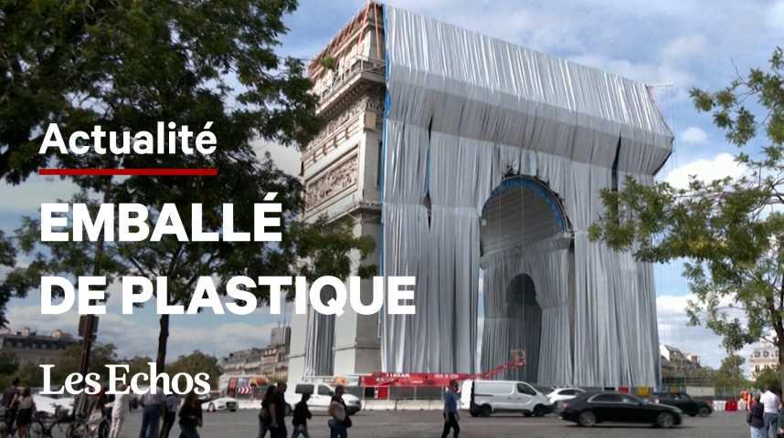 Illustration pour la vidéo L'emballage de l'Arc de Triomphe, imaginé par Christo, a commencé