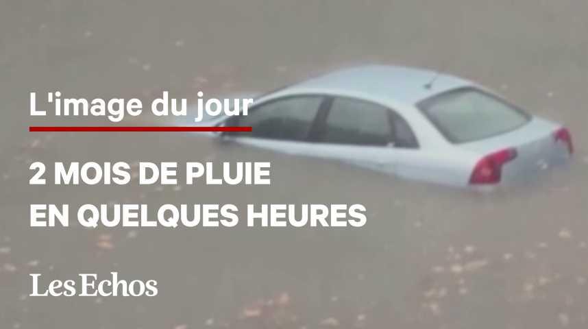 Illustration pour la vidéo Des pluies record dans le Gard provoquées par de violents orages