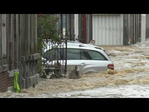 Belgian city flooded after heavy rains