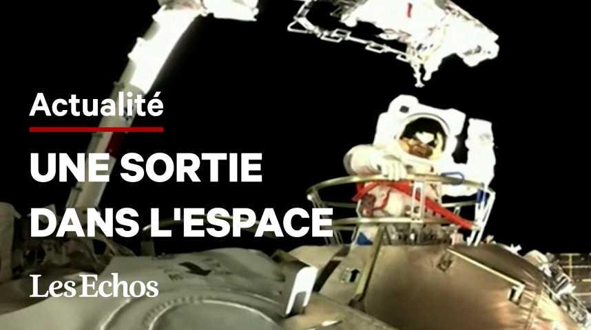 Illustration pour la vidéo Deux astronautes chinois sortent dans l'espace depuis la station Tiangong