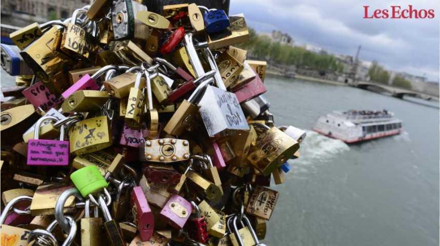 Illustration pour la vidéo Les « cadenas d'amour » des ponts de Paris vendus aux enchères
