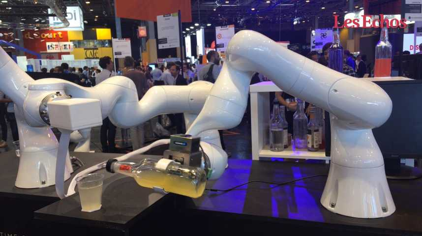 Illustration pour la vidéo Et Realtime Robotics créa... un robot qui sert des cocktails