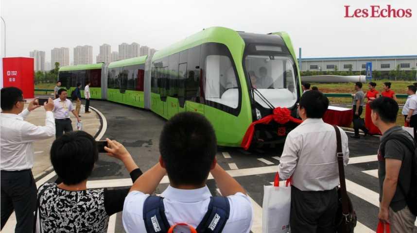 Illustration pour la vidéo Le premier train sans rails dévoilé en Chine
