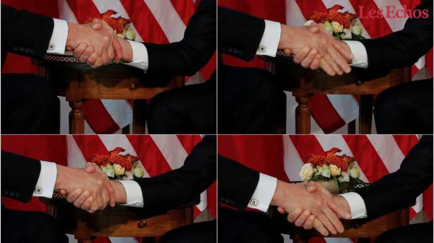 """Illustration pour la vidéo Macron """"résiste"""" à la poignée de main de Trump (et devient une icône aux Etats-Unis)"""