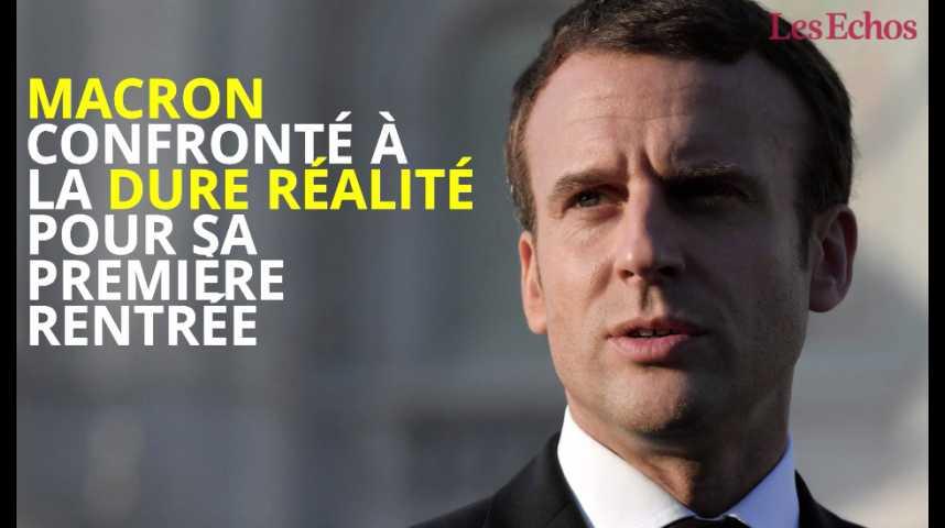 Illustration pour la vidéo Macron confronté à la dure réalité pour sa première rentrée