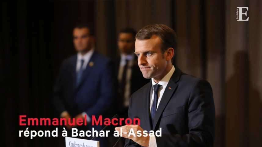 Illustration pour la vidéo Emmanuel Macron répond à Bachar al-Assad