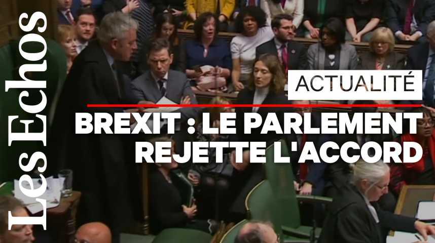 Illustration pour la vidéo Accord du Brexit rejeté : le récit en vidéo d'une folle soirée au Parlement britannique