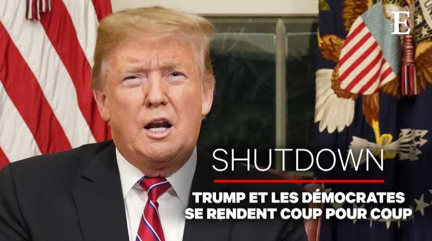 Illustration pour la vidéo Shutdown : Donald Trump et les démocrates se rendent coup pour coup à la télévision