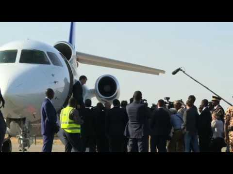 French President Emmanuel Macron arrives in Chad
