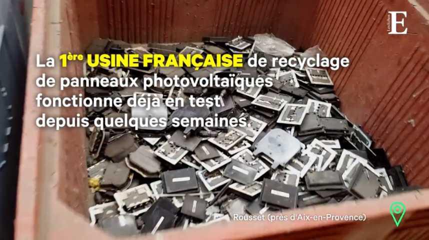 Illustration pour la vidéo Veolia inaugure le premier site de recyclage de panneaux solaires