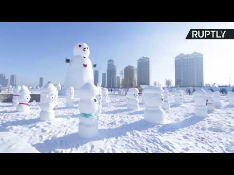Army of 2,018 Snowmen Swarm Harbin for New Year