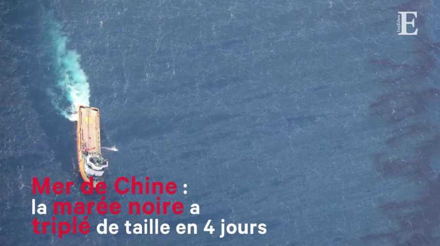Illustration pour la vidéo Mer de Chine : la marée noire triple de taille