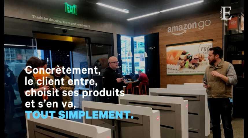 Illustration pour la vidéo Amazon ouvre son premier supermarché sans caisse