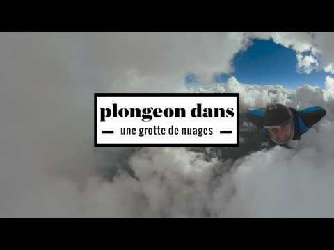 2 minutes d'un plongeon renversant à travers une grotte de nuages en wingsuit
