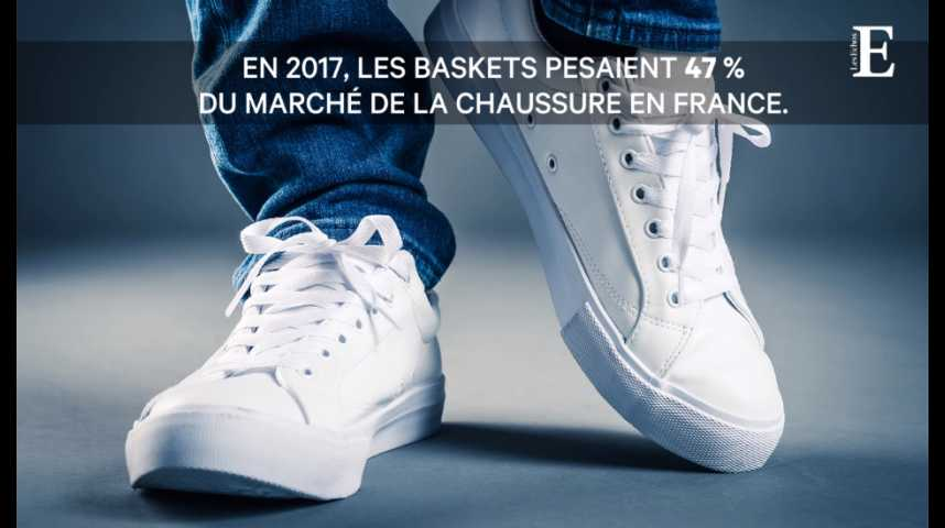 Illustration pour la vidéo Les baskets font marcher 47% du marché de la chaussure en France