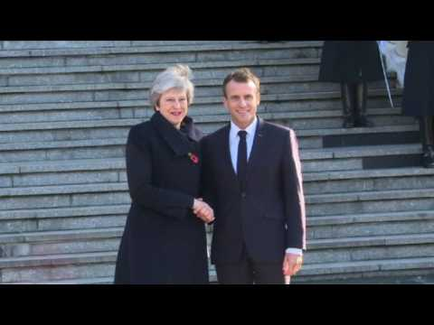 Theresa May joins Macron on tour of WWI sites