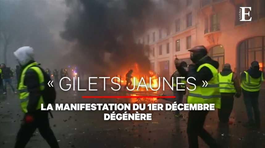 Illustration pour la vidéo Scènes de guérilla urbaine dans Paris lors de la manifestation des «gilets jaunes»