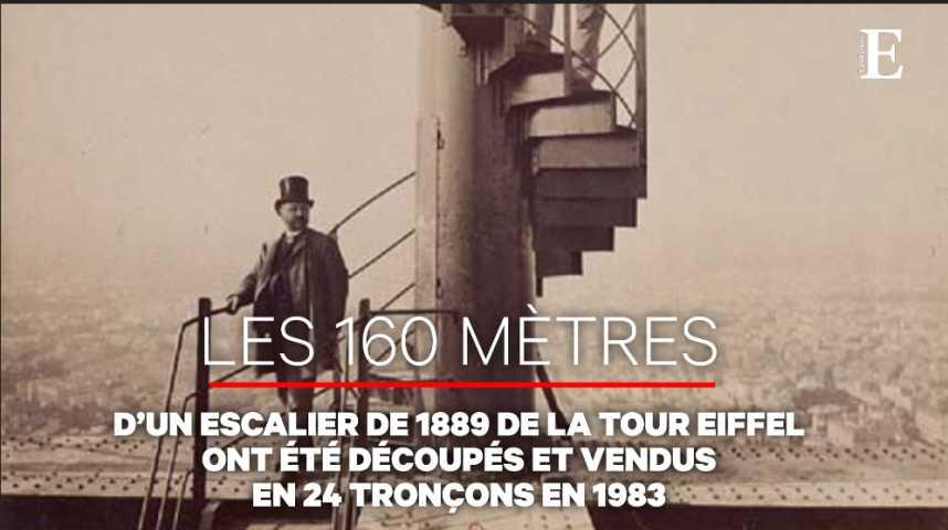Illustration pour la vidéo La Tour Eiffel aux enchères ! Enfin... une partie de son escalier d'origine...