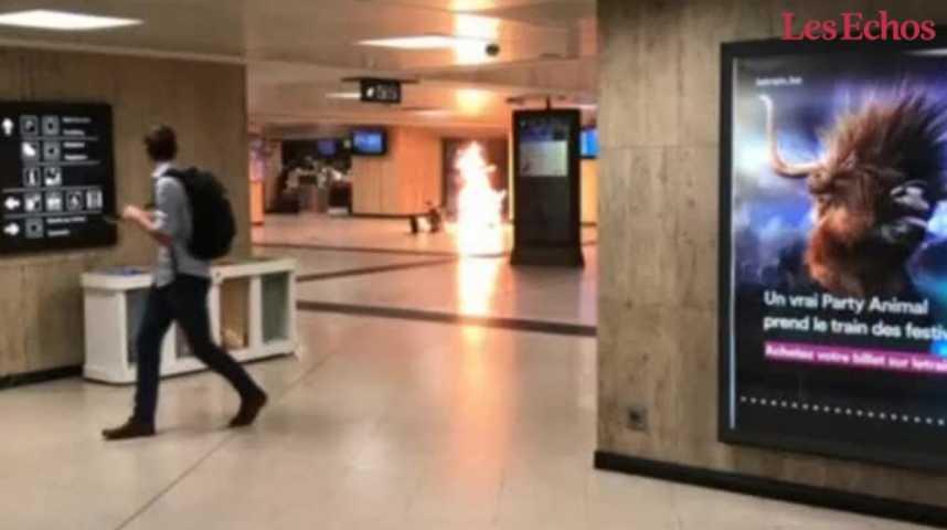 Illustration pour la vidéo Bruxelles : un témoin raconte l'explosion à la gare centrale