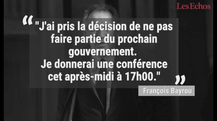Illustration pour la vidéo François Bayrou quitte le gouvernement