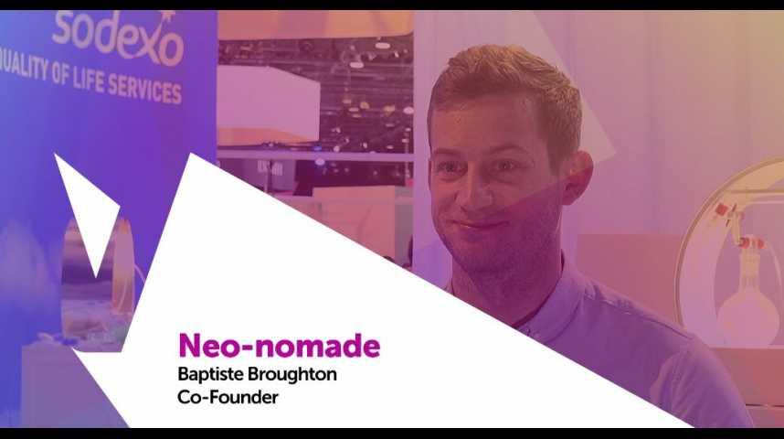Illustration pour la vidéo Viva Technology - Sodexo présente Neo-nomade, la plateforme de réservation d'espace de coworking