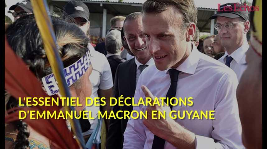 Illustration pour la vidéo L'essentiel des déclarations d'Emmanuel Macron en Guyane