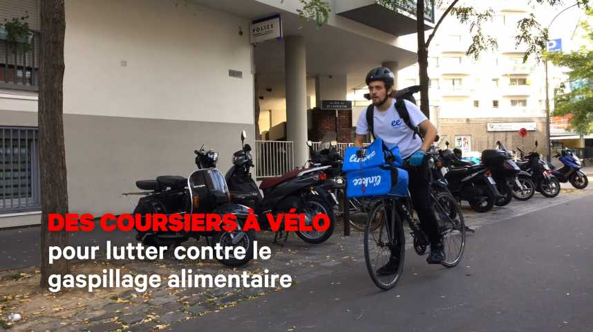 Illustration pour la vidéo Des coursiers à vélo pour lutter contre le gaspillage alimentaire