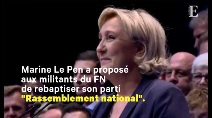 """Illustration pour la vidéo Marine Le Pen veut rebaptiser le FN ; son père évoque un """"assassinat politique"""""""