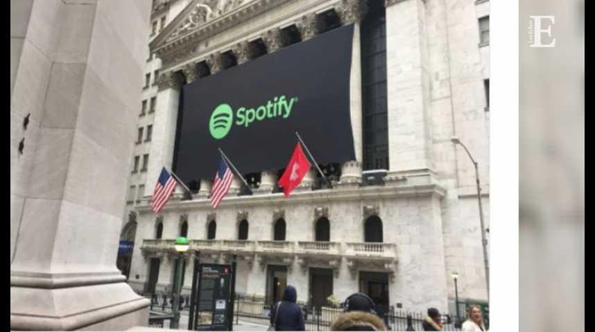 Illustration pour la vidéo Pendant ce temps, Spotify, groupe suédois, fait son entrée à Wall Street… sous drapeau suisse