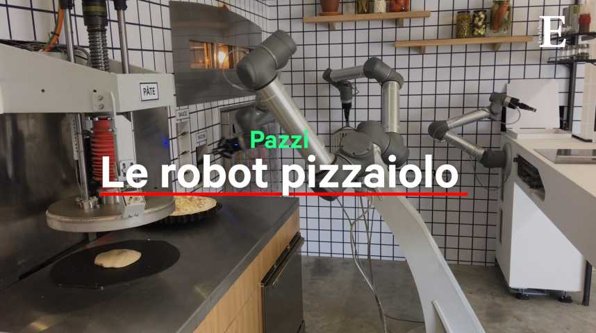 Illustration pour la vidéo Et maintenant, place au robot pizzaiolo !