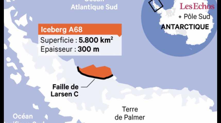 Illustration pour la vidéo Un gigantesque iceberg se détache de l'Antarctique