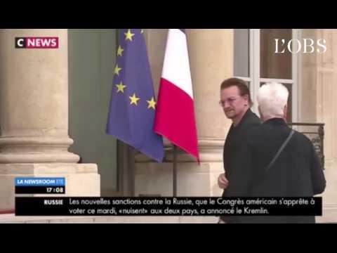 La rock star Bono à l'Élysée pour parler humanitaire