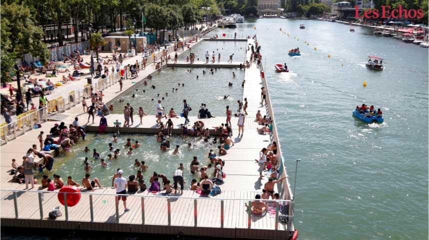Illustration pour la vidéo Les Parisiens se ruent vers la nouvelle piscine naturelle de la Villette
