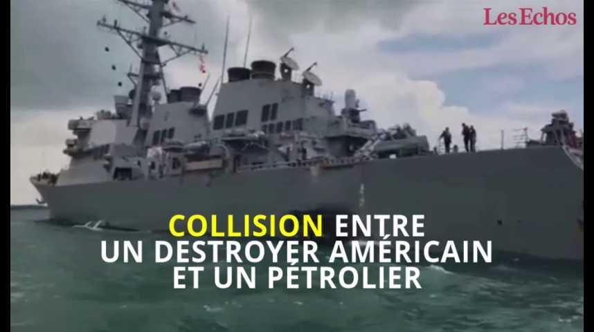 Illustration pour la vidéo Collision entre un destroyer américain et un pétrolier
