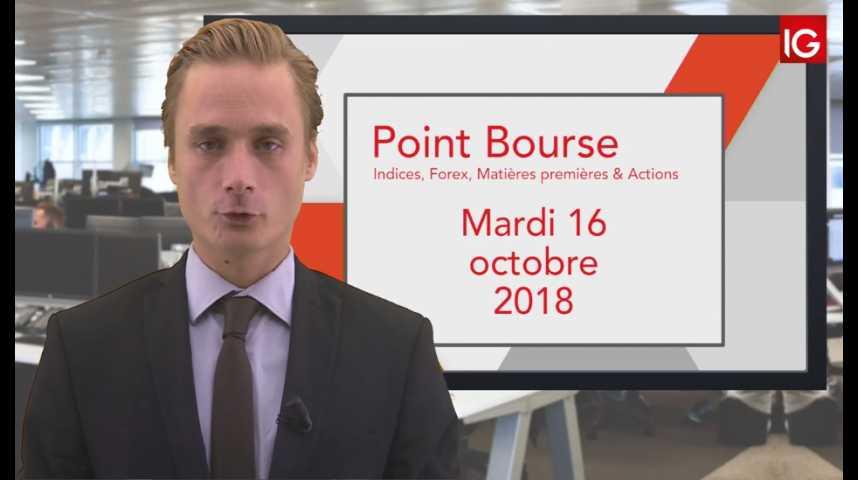 Illustration pour la vidéo Point Bourse IG du Mardi 16 octobre