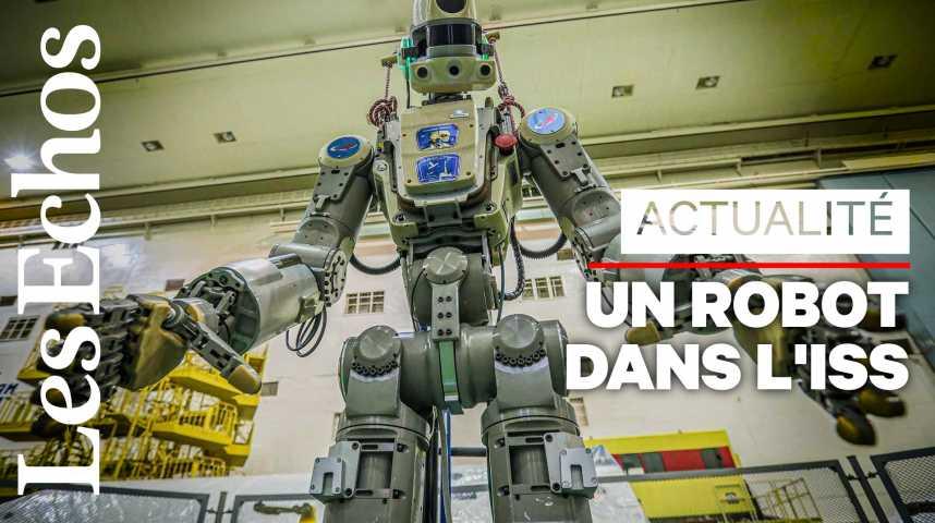 Illustration pour la vidéo Le vaisseau du robot humanoïde Fedor s'est arrimé à l'ISS