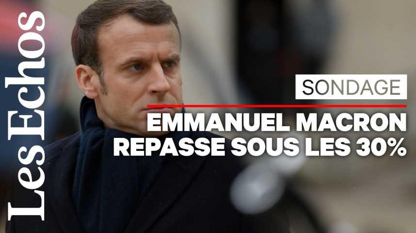 Illustration pour la vidéo Retraites et 49.3 plombent la cote de confiance d'Emmanuel Macron