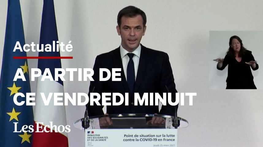 Illustration pour la vidéo Restrictions renforcées dans la Nièvre, le Rhône et l'Aube, annonce Olivier Véran