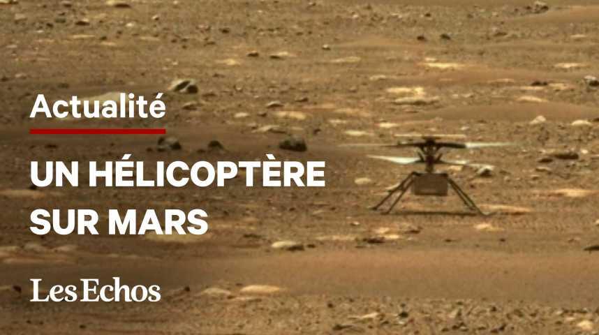 Illustration pour la vidéo Ingenuity de la NASA : les images du premier hélicoptère à voler sur Mars