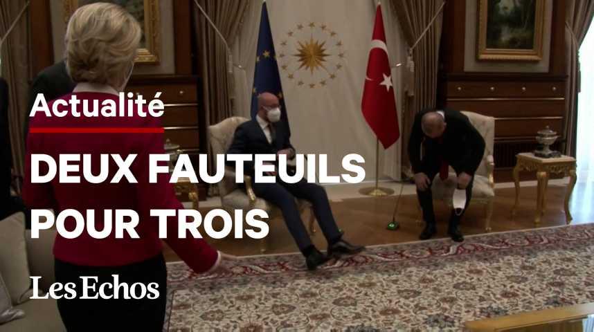 """Illustration pour la vidéo Le """"sofagate"""" d'Erdogan à Von der Leyen fait bouillir Bruxelles"""