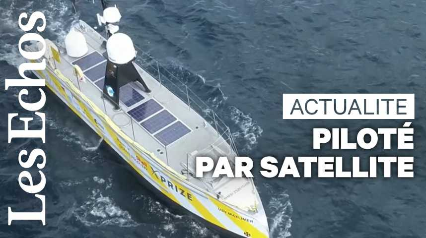 Illustration pour la vidéo Un bateau piloté par satellite navigue trois semaines dans l'Atlantique