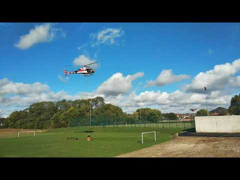 Opération d'hélitreuillage au stade de football de Méricourt