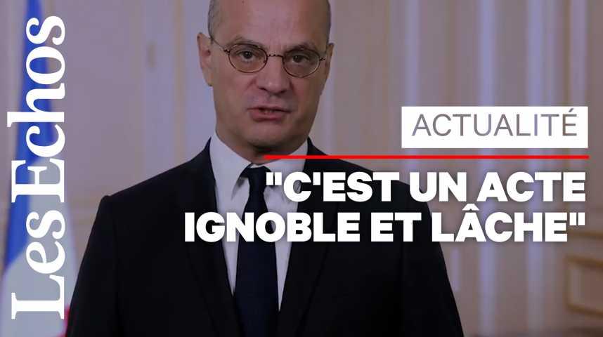 Illustration pour la vidéo « La République ne reculera jamais », affirme Blanquer après la décapitation d'un professeur
