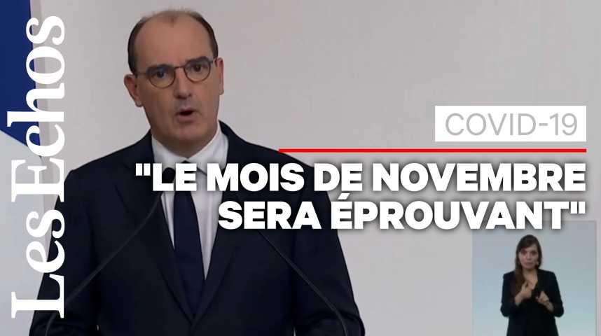 Illustration pour la vidéo Le couvre-feu concernera désormais 46 millions de Français, annonce Jean Castex