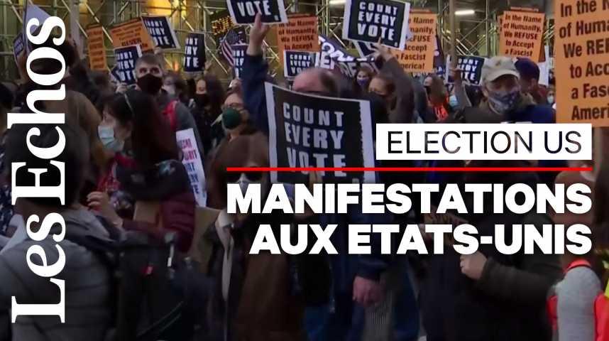 Illustration pour la vidéo « Comptez tous les votes » : manifestations à New York et en Pennsylvanie