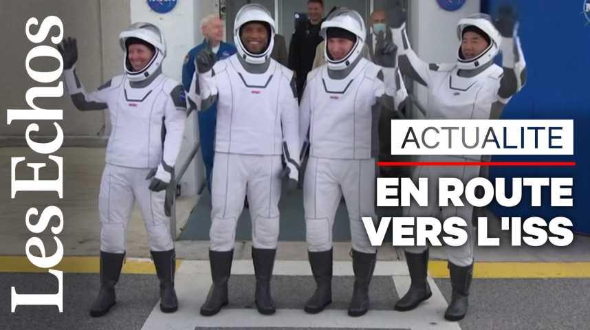Illustration pour la vidéo Une fusée SpaceX en route vers la station spatiale avec 4 astronautes